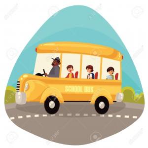 Happy primary students riding school bus
