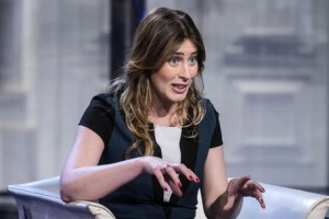 "Italian Minister for Reforms, Maria Elena Boschi, during the Italian RAI Tv program ""Porta a porta"""