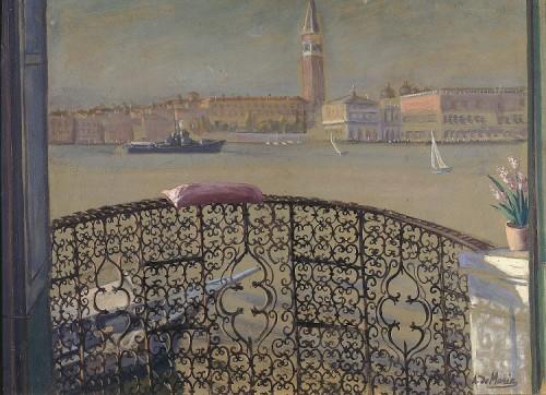 2. Astolfo Demaria Dal balcone centrale della Casa dei Tre Oci 1936 tempera su cartone cm 51x69 Venezia Fondazione di Vene