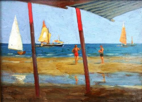 23. Luigi De Giudici Paesaggio del Lido 1933 olio su tavola cm269x37 Collezione privata