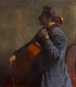 19 - Zandomeneghi F. - Il violoncellista, olio su tela 82 x 72 cm