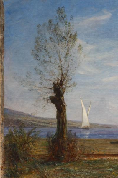 Fontanesi A. - Aprile (Rive del lago di Bourget), olio su tela 102 x 153 cm (particolare 1)