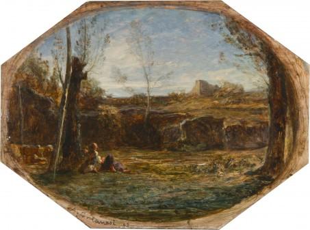 Fontanesi A. - Campagna nel Delfinato, olio su tavola 26,5 x 39,6 cm