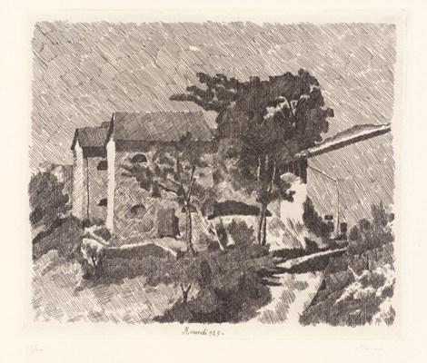 paesaggio 1929 acquaforte
