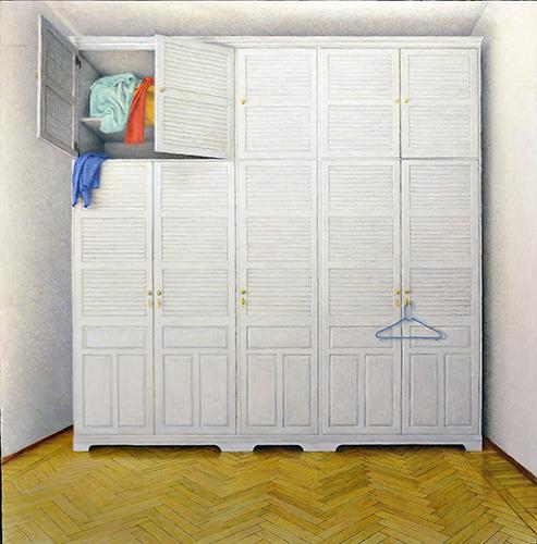 x articolo-Armadio nella camera,1987,olio su tavola,76,5x75 cm
