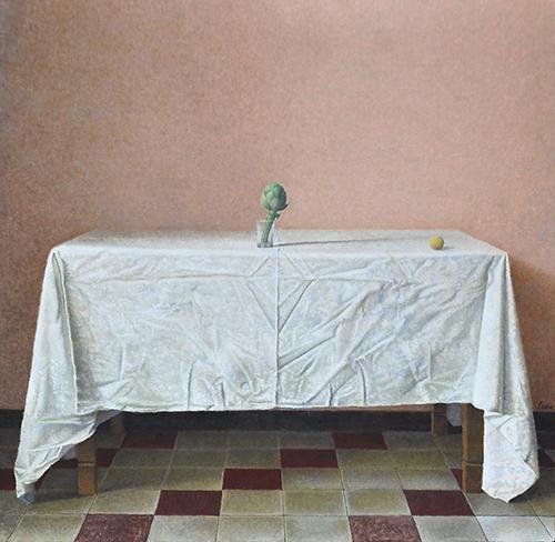 x articolo-Carciofo e pallina,2012,tempera all'uovo e olio su tavola,54,5x56 cm
