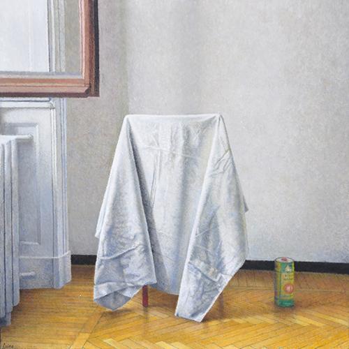 x articolo-Interno con drappo e barattolo, 2014-2015, olio su tavola, 39,7x39,7 cm