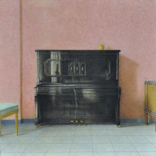 x articolo-Interno con pianoforte, 2016, olio su tavola, 54,2x54,2 cm