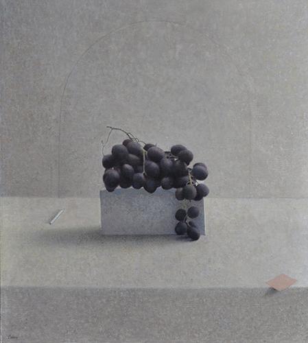 x articolo-Natura morta con uva  matita, 2015-2016, olio su tela, 50x45 cm