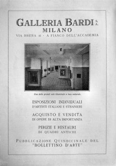 PUBBILCITà DELLA GALLERIA BARDI- IN SECONDA MOSTRA DEL NOVECENTO ITALIANO- CATALOGO- MILANO- E. GUALDONI  ALFIERI E LACROIX- 1929