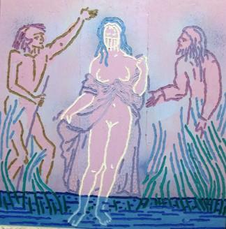 Susanna e i due vecchioni  Olio su tavola di compensato(70x70)