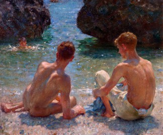 Henry-Scott-Tuke-The-Critics-1927.-Olio-su-tavola-412-x-514-cm.-Warwick-District-Council-Leamington-Spa-UK.-Courtesy-Tate