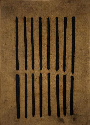 Arturo Vermi-Diario-tecnica mista su tela di sacco-cm.47x70-1963