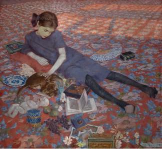 Felice-Casorati-Bambina-che-gioca-su-tappeto-rosso-1912-Gand-Museum-voor-Schone-Kunsten