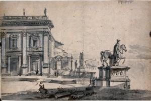 Jean-Baptiste-Lallemand-Veduta-di-Piazza-del-Campidoglio