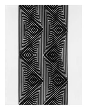 11- FRANCO GRIGNANI, Studio di tensioni, 1964, sperimentale ottico di distorsione su tavola, 90x70 cm
