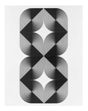 12- FRANCO GRIGNANI, Fenomeno plastico chiaroscurale, 1966, sperimentale ottico di distorsione su tavola, 90x70 cm