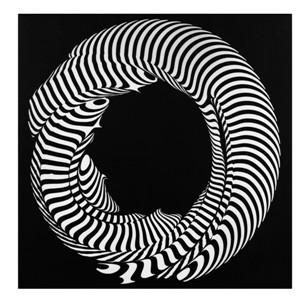 9- FRANCO GRIGNANI, Torsione e tensione anulare, 1962, sperimentale ottico su tela emulsionata applicata su tavola, 50x50 cm