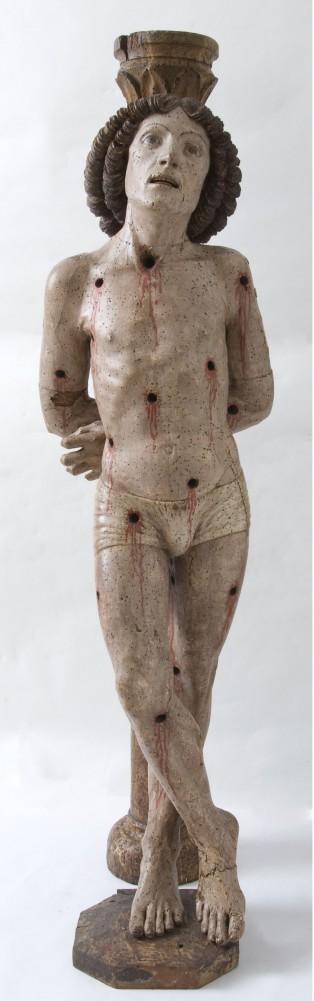 Anonimo del XV secolo, San Sebastiano. Legno di pioppo dipinto a tempera, XV secolo.