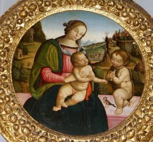 Madonna con il Bambino e San Giovanni Battista, Scuola peruginesco-pintoricchiesca, prima metà del sec. XVI, tempera su tavola