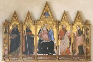 Ottaviano Nelli, Madonna con Bambino, Trinita', santi, Cherubini. 1403. Tempera su tavola