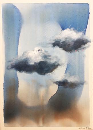 Chiara Silva-Oltre la terra e il cielo-tecnica mista su tela-cm.50x70-2018