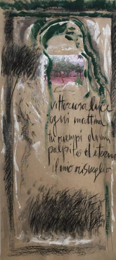 Marisa Settembrini-Vittoriosa luce-dedicato a Comi-tecnica mista su tela-cm.80x173-2018