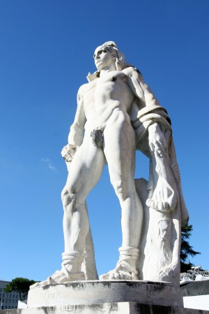 Giant marble athlete male statue, fascist era athlete man italic forum foro Italico Stadio dei Marmi naked athlete athlete