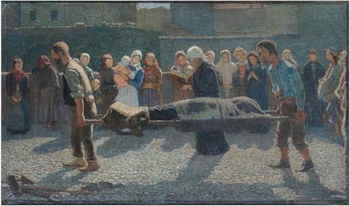 Pellizza da Volpedo G. - Il ritorno dei naufraghi al paese, olio su tela 34,5 x 57,5 cm_thumb