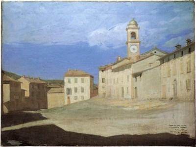 Pellizza da Volpedo G. - La piazza di Volpedo, olio su tela 78 x 96 cm