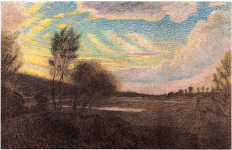 Pellizza da Volpedo G. - Nubi di sera sul Curone, olio su tela 55 x 84 cm