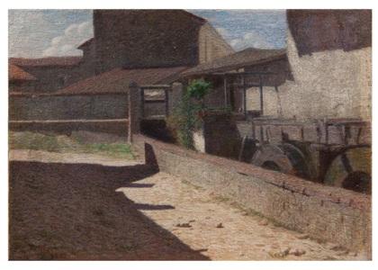 Pellizza da Volpedo G. - Vecchio mulino a Volpedo, olio su tela 44,5 x 64 cm_thumb