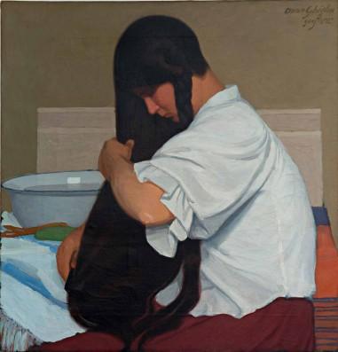Ghiglia-O.-Donna-che-si-pettina-La-camicia-bianca-1909-olio-su-tela-cm-61x585.