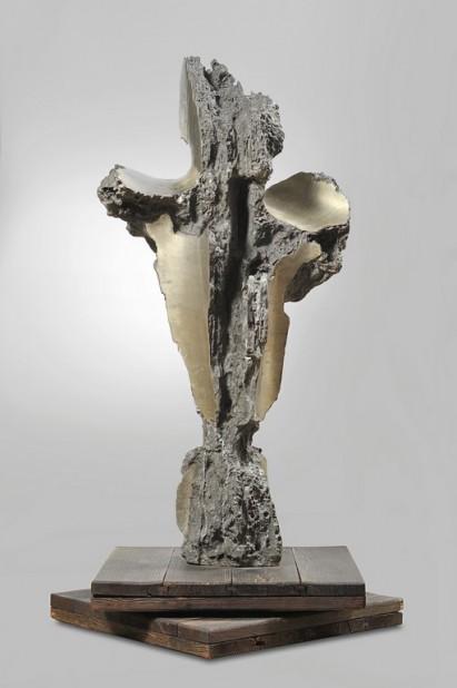 Francesco-Somaini-Grande-Martirio-Piagato-II-Versione-1960-peltro-con-lucidi-parziali-e-base-originale-in-legno-133x65x50-cm-Copia