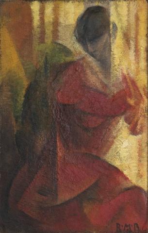 RMBaldessari_figuraInRosso-luce_1919_oliosucartone_cm247x16-305x480