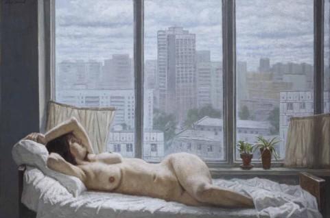 Mattina-grigia.-Nudo-su-sfondo-con-finestra.-2006
