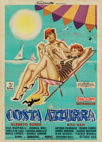 Costa Azzurra_1959_Regia Vittorio Sala_Manifesto di Sandro Symeoni_cm 140x100_lancio