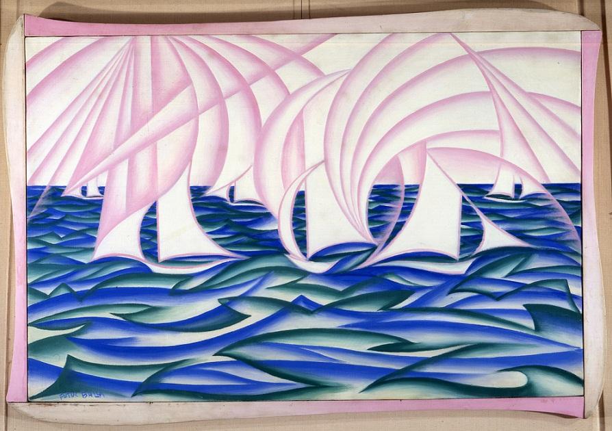 Giacomo-Balla-Velmare-o-Mare-cielo-vele-1919-olio-su-tela-Reggio-Emilia-collezione-Credem