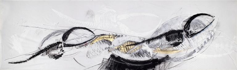 Nicola Salvatore - La danza del nero e dell'oro   tecnica mista su tessuto   147 x 492 cm 2005 -2 - pub (cat. 145)(1)