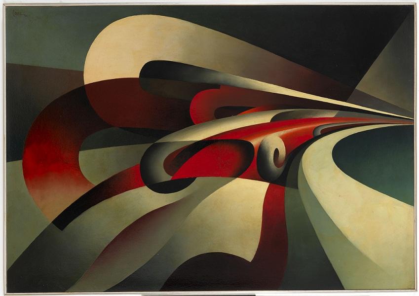 Tullio-Crali-Le-forze-della-curva-1930-olio-su-cartone-Mart-Museo-di-Arte-Moderna-e-Contemporanea-di-Trento-e-Rovereto