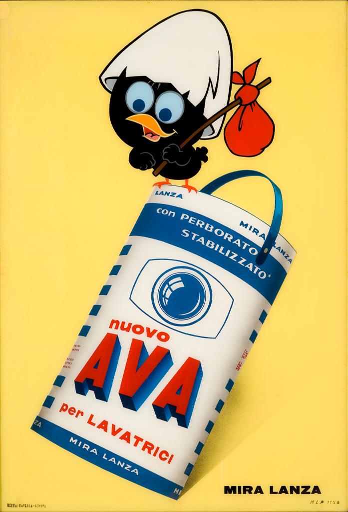 Produzione-Pagot-Calimero-pubblicità-per-Ava-Mira-Lanza-1965-vetrofania_-Collezione-Galleria-LIMAGE-Alassio-SV-697x1024