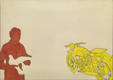 Renato-Mambor-Airone-ferito-1966-acrilico-su-tela-cm-70x100.