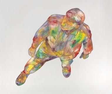 Renato-Mambor-Uomo-geografico-_-fondo-grigio-2012-tecnica-mista-su-tela-cm-100x120.