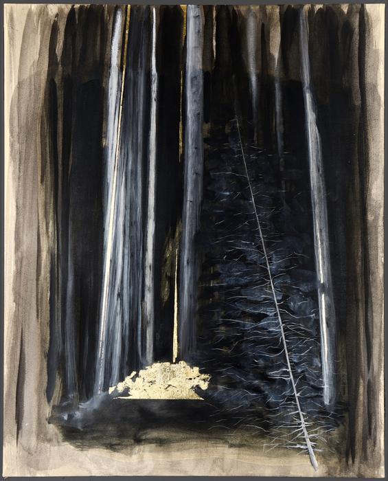 Bruno Mangiaterra,Bosco-Polis,olio su carta intelata e foglia oro,cm.100x80,2018