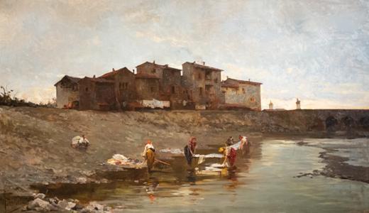 4. Raffaele Faccioli, Lavandaie a Pontelungo, collezione privata-min