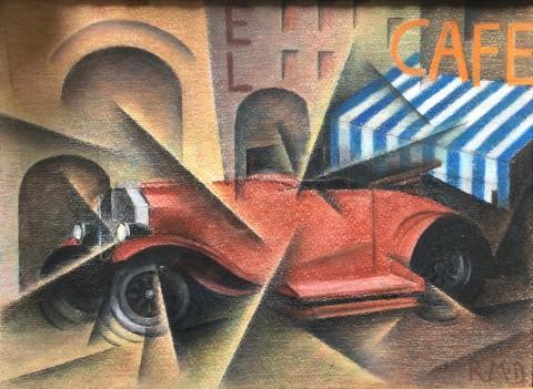 RobertoMarcello_Baldessari_piazza+auto+caffe _1916circa_PastelliSuCartaIncollataSuTavola_29,5x40cm