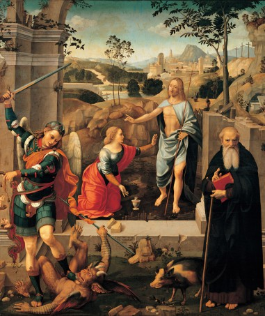 Christ appearing to Mary Magdalene, St Michael Archangel and St Anthony Abbot (Noli Me Tangere), by Viti Timoteo, 1512 - 1519, 16th Century, Tavola