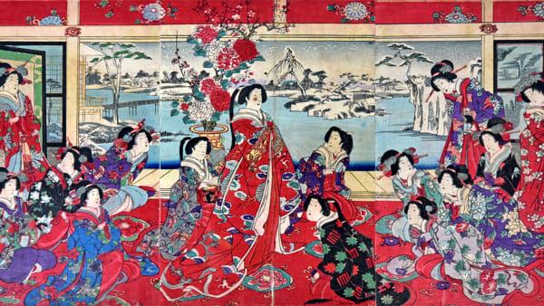 Yoshu Chinkanobu, Passatempi di beltà femminili in un giorno nevoso, trittico di xilografie policrome in formato oban, 35,5x70,5 cm, firmata Il pennello di Yoshu Chikanobu, 1838-1912-3-2