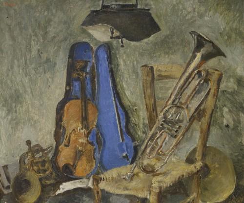 Fausto-Pirandello-Natura-morta-con-strumenti-musicali-circa-1942-olio-su-tavola
