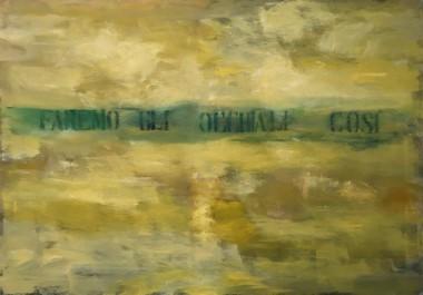 Francesco Correggia, Bagliore faremo gli occhiali cosi , 2018 - 19, olio su tela, 116  x 165,5 cm